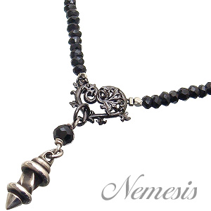Nemesis(ネメシス)・NST-031ブラックスピネルネックレス【Black Spinel】ブラックスピネル【約41cm~49cm/調節可能/チェーン一体型】【ゴシックハート/ブラック】【バレットペンダントトップ】【ペンダント】【ギフト包装-対応】