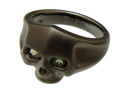 PUERTA DEL SOL(プエルタデルソル)【R447MTBK-TR】ラージ スカル リング 指輪【マットブラック】【グリーン トルマリン】【9号~23号】【ギフト包装-対応】
