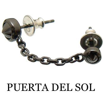 PUERTA DEL SOL(プエルタデルソル)【PC303BKBK】 2連 チェーン ピアス【オール ブラック】【チタン ポスト】【ギフト包装-対応】