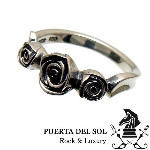 [3日以内に発送] PUERTA DEL SOL プエルタデルソル R1143 トリプル ローズ シルバー リング 指輪 バラ 薔薇【ギフト包装-対応】【7号】