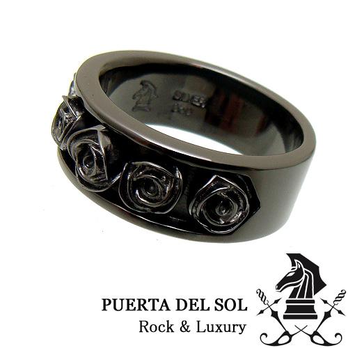 PUERTA DEL SOL プエルタデルソル R1142BK チャンネル ローズ ブラック リング 指輪 バラ 薔薇【ギフト包装-対応】【15号】