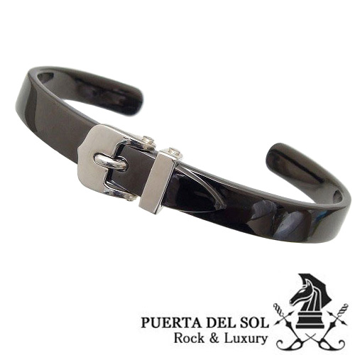 PUERTA DEL SOL(プエルタデルソル)【BR1161BK】 ブラック バングル ブレスレット【バックル ベルト】【ギフト包装-対応】