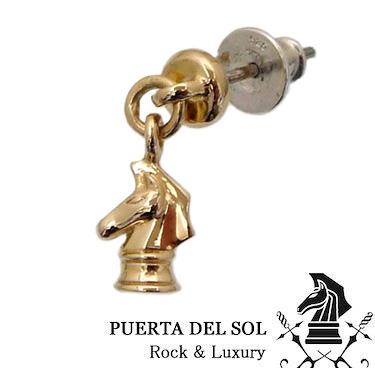 PUERTA DEL SOL プエルタデルソル PC1163YG ゴールド ドロップ ナイト スタッズ ピアス K18 チタン 製 ポスト 片耳 片売り 1点売り【ギフト包装-対応】