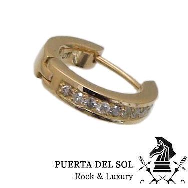 PUERTA DEL SOL プエルタデルソル PC1171YG ゴールド フープ ダイアモンド ピアス ポスト K18YG V【ギフト包装-対応】