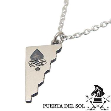 PUERTA DEL SOL プエルタデルソル NE1202S トランプ スペード ブラックダイヤモンド ネックレス シルバー チェーン 付【ギフト包装_対応】
