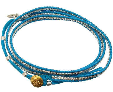 amp japan(アンプジャパン)14AH-446 Blue(ブルー/青色)シルバービーズラップブレスレットシルバー925ビーズ×ブルーコード【5サイズ調節可能/アンクレット/ネックレス】ゴールドコンチョ/ラップブレスレット