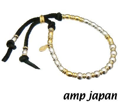 【あす楽対応】amp japan(アンプジャパン)15AHK-450【ゴールド×シルバービーズブレスレット】レザーブレスレット/ブラックレザー【ギフト包装-対応】amp japan(アンプジャパン)