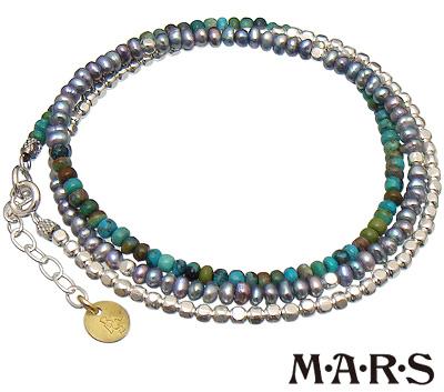 M・A・R・S(M.A.R.S/mars/マーズ)【M5248B-TQ】ターコイズ 3連 レイヤード ブレスレット【シルバー ブラックパール】【ギフト包装-対応】