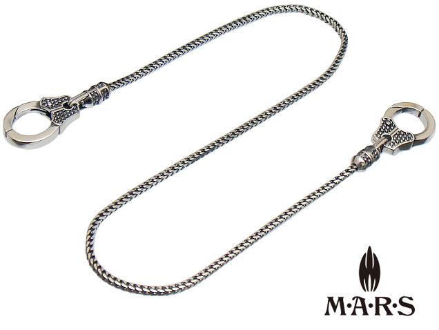 M A R S MARS マーズ M8096C ダブルクリップウォレットチェーン キーチェーン 細身 Wクリップ オールシルバー ネックレス 約45cm ショートモデル シルバーアクセサリー シルバー925 立体チェーン ギフト包装-対応