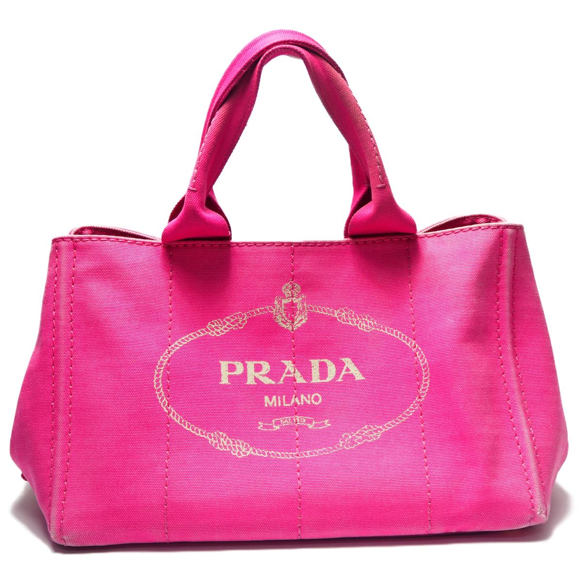 【中古】【可】 ゴールド金具 ハンドバッグ ピンク カナパS プラダ キャンバス レディース PRADA スモールサイズ ブランドバッグ BN2439 バッグ トートバッグ