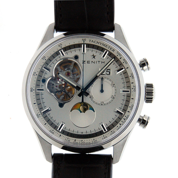 Zenith ZENITH Chrono master open moon phase 03.2160.4047/01.C713 SS 45 mm silver leather new
