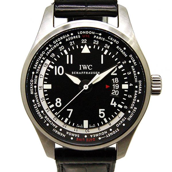 【保証書有り】IWC パイロットウォッチ ワールドタイマー IW326201 SS ブラック 自動巻 革 USED 【中古】