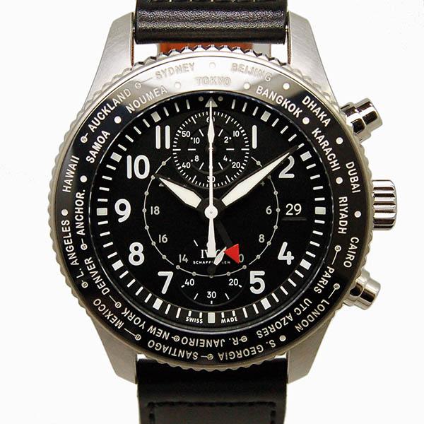 IWC パイロットウォッチ タイムゾーナー クロノグラフ IW395001 SS ブラック 45mm 自動巻 革ベルト USED