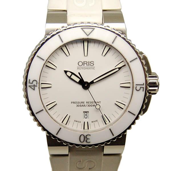 【保証書有り】オリス ORIS アクイス デイト 733 7653 4156R SS ホワイト ラバー USED 【中古】