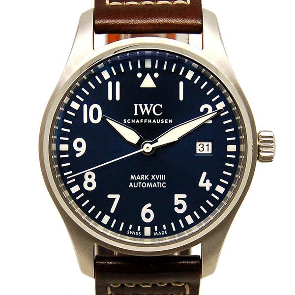 【保証書有り】IWC パイロットウォッチ マーク18 プティ・プランス IW327004 ブルー 革ベルト USED 中古