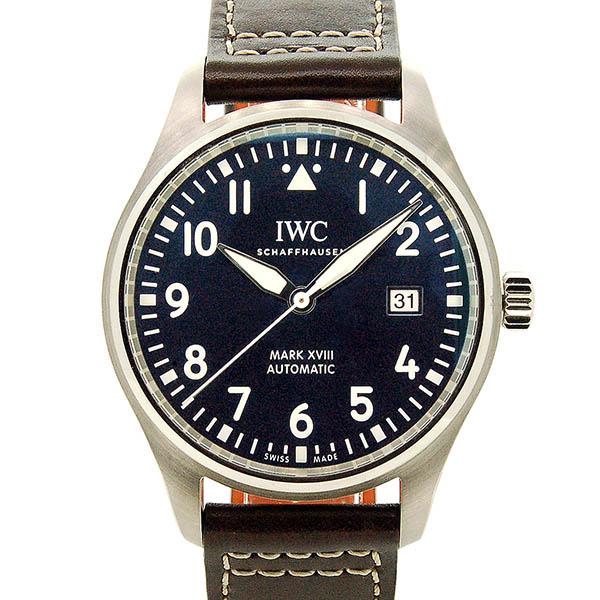【国際保証書有り】IWC パイロットウォッチ マーク18 プティ・プランス IW327004 ブルー 革ベルト 40mm USED 中古【メンズ】