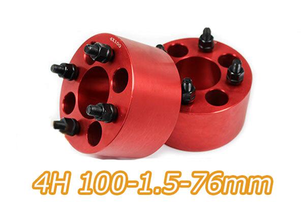 ワイドトレッドスペーサー 4穴 2枚組 PCD100 ボルトピッチM12x1.5 厚さ76mm レッド