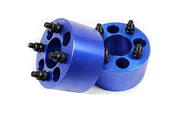 ワイドトレッドスペーサー 4穴 2枚組 PCD100 ボルトピッチM12x1.25 厚さ76mm ブルー