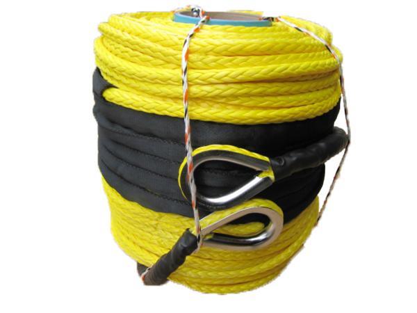 【沖縄・離島への配送不可】シンセティックロープ イエロー 9.0mmx100m 耐荷重 5700kg