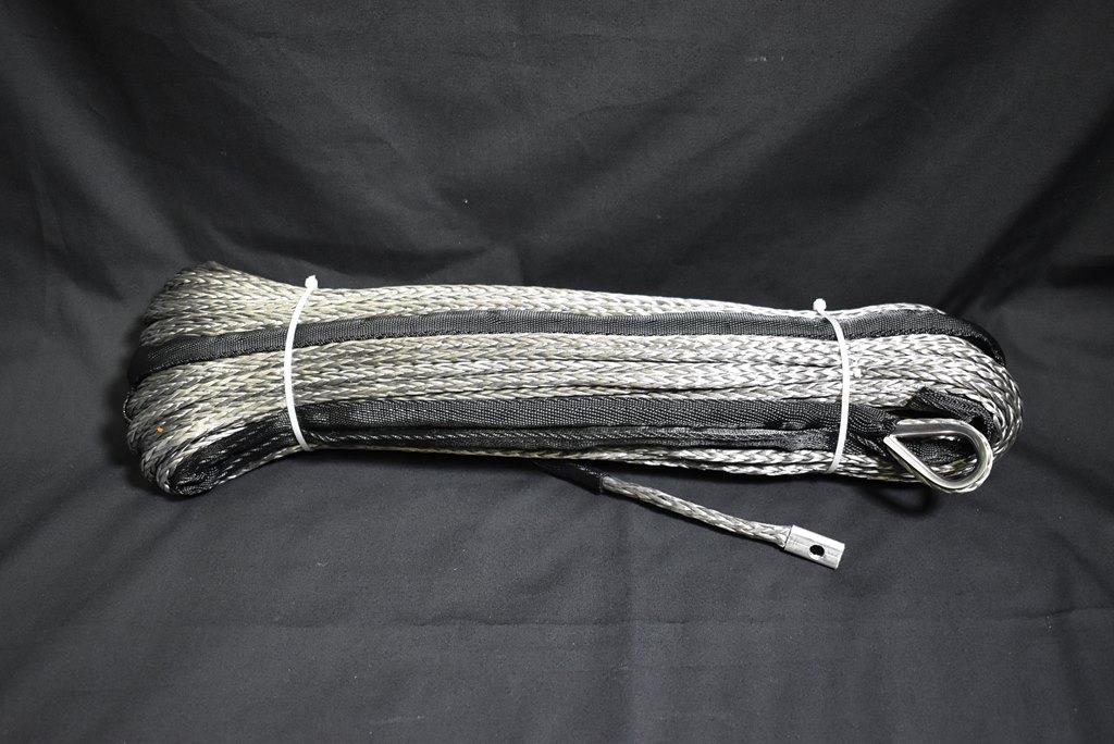 【沖縄・離島への配送不可】ウインチ用 シンセティックロープ グレー 7.0mm x 50m 耐荷重3400kg 片輪