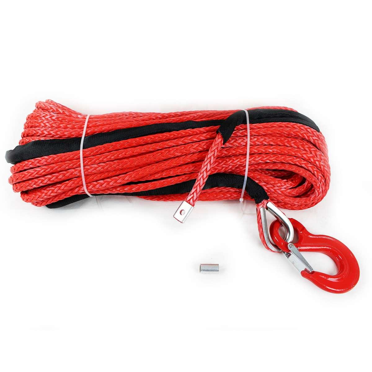 ウインチなど交換用 フック付きシンセティックロープ レッド 10.0mm x 50m 耐荷重 13800LBS (6250kg)