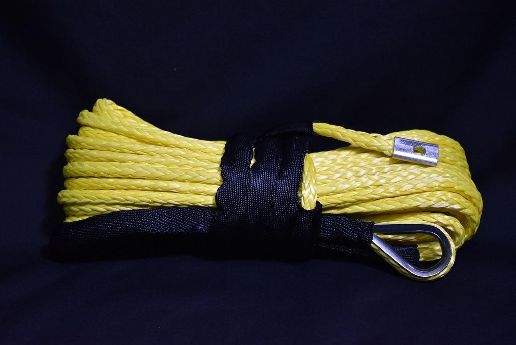 ウインチ用 シンセティックロープ イエロー 7.5mm x 15m 耐荷重4,000kg