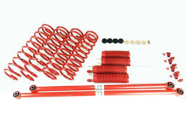 ジムニー JB23/JB33/JB432インチ リフトアップキット9段減衰調整式ショック白ラテラルロッド 赤サスペンション 赤