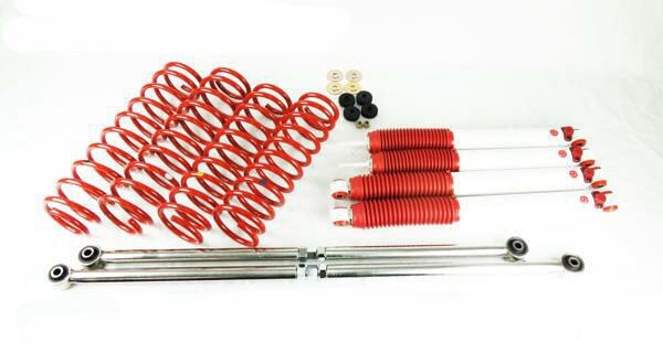 ジムニー JB23/JB33/JB432インチ リフトアップキット9段減衰調整式ショック白ステンレス製ラテラルロッドサスペンション 赤