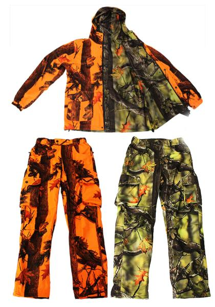 【沖縄・離島への配送不可】期間限定 特別価格 トップシューターリバーシブル迷彩ジャケットグリーン&オレンジ迷彩パンツ 3点フルセットXLサイズ