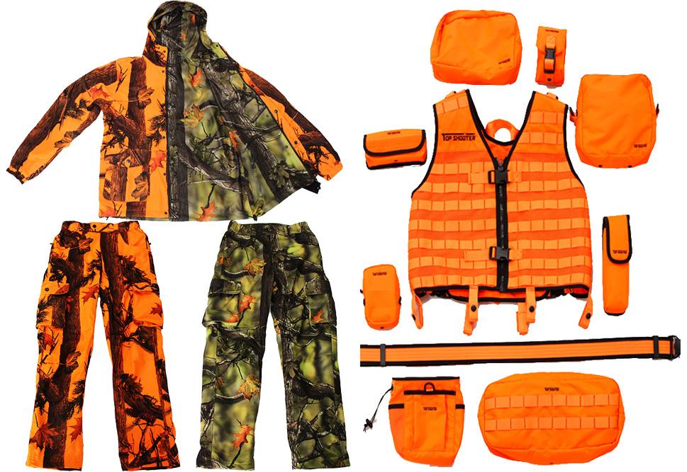 トップシューターモジュラーハンティングベストセット+リバーシブル迷彩ジャケット+迷彩パンツ2本(オレンジ/グリーン)Mサイズ上下セット