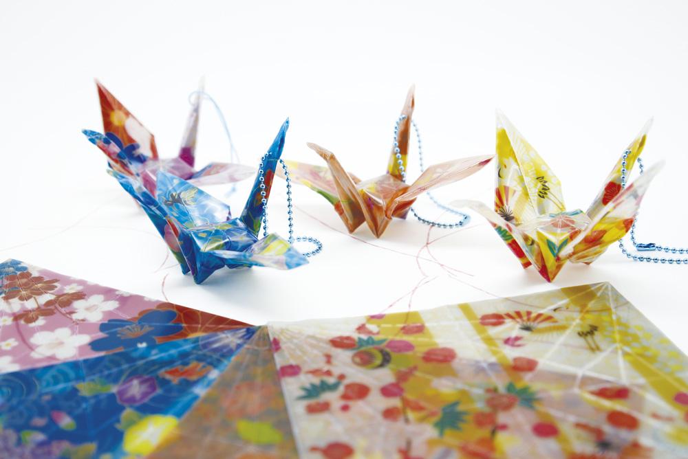 アソート100セット 特価 反射 折り紙 (千代紙) 鶴 リフレクター キッド 交通安全グッズ