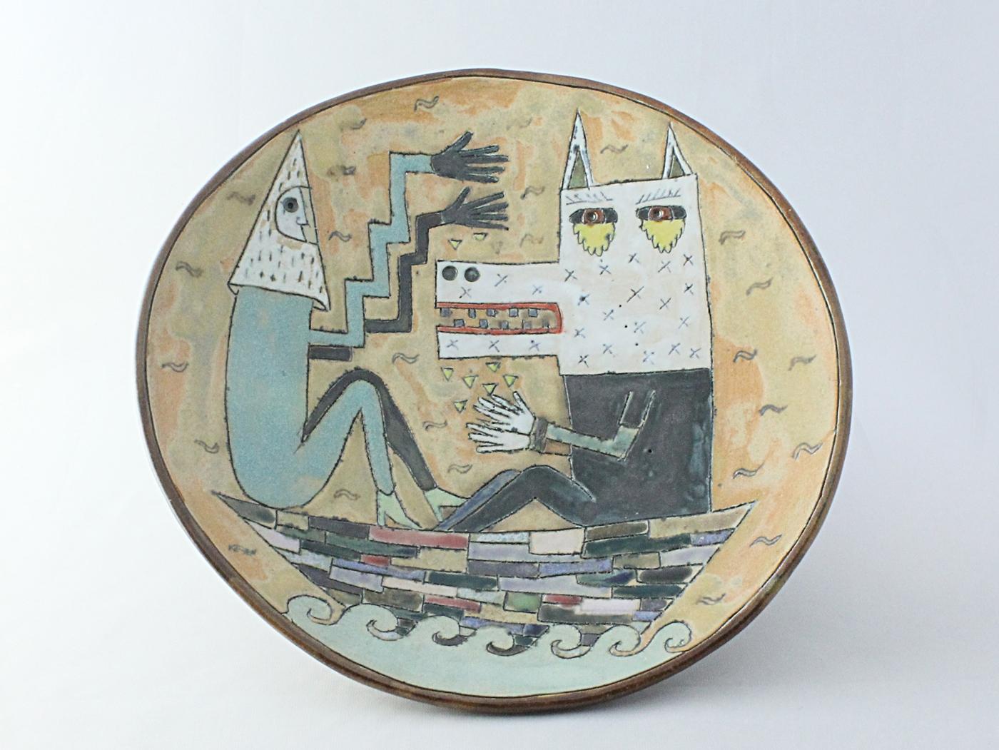 ベージュ色の皿 船に乗る