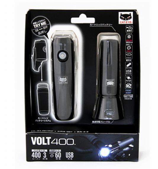 ▲CATEYE【キャットアイ】 VOLT400【ボルト 400】 HL-EL461RC KIT フロントライト本体+予備バッテリー+急速充電クレードルセット 充電式 LED ヘッドライト