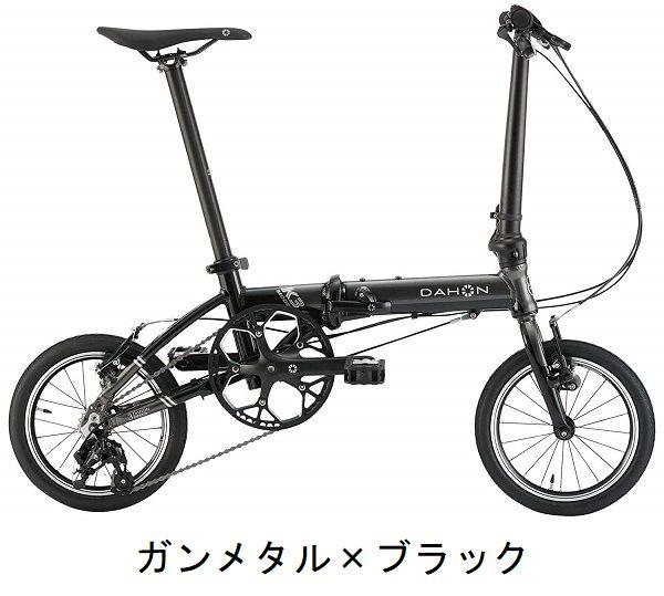 ●【小傷あり アウトレット】送料無料(一部地域除く) 2020年モデル DAHON(ダホン) K3(ケースリー) 14インチ 折りたたみ自転車 フォールディングバイク ガンメタル×ブラック[D-5]
