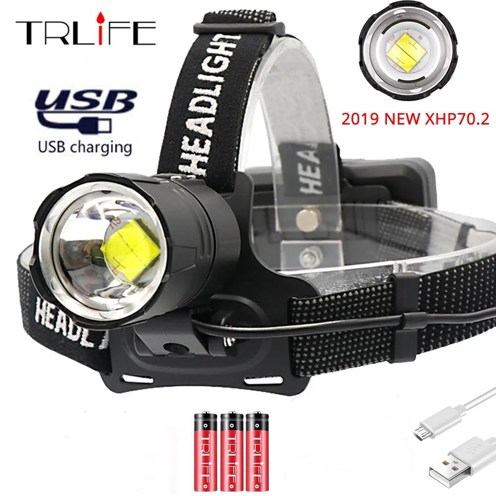 100000LM 超高輝度 海外限定 人気 XHP70.2 USB 充電式 LED XHP70 ヘッドライト狩猟サイクリングランテル ヘッドランプ ヘッドライト狩猟サイクリングランテル送料無料