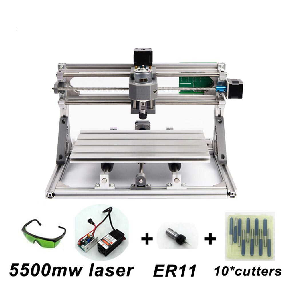 USB CNC3018 ルーター + 5500mW +ER11レーザー加工機 ソフト オリジナル日本語説明書つき