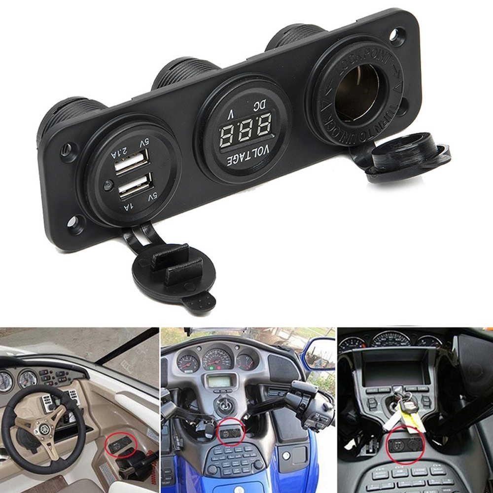 シガーソケット USB2口 美品 電圧計です 防水 電圧計 3連 増設 12V 車 キャンピングカー トラック スマートフォン 24V GPS バイク 百貨店 船