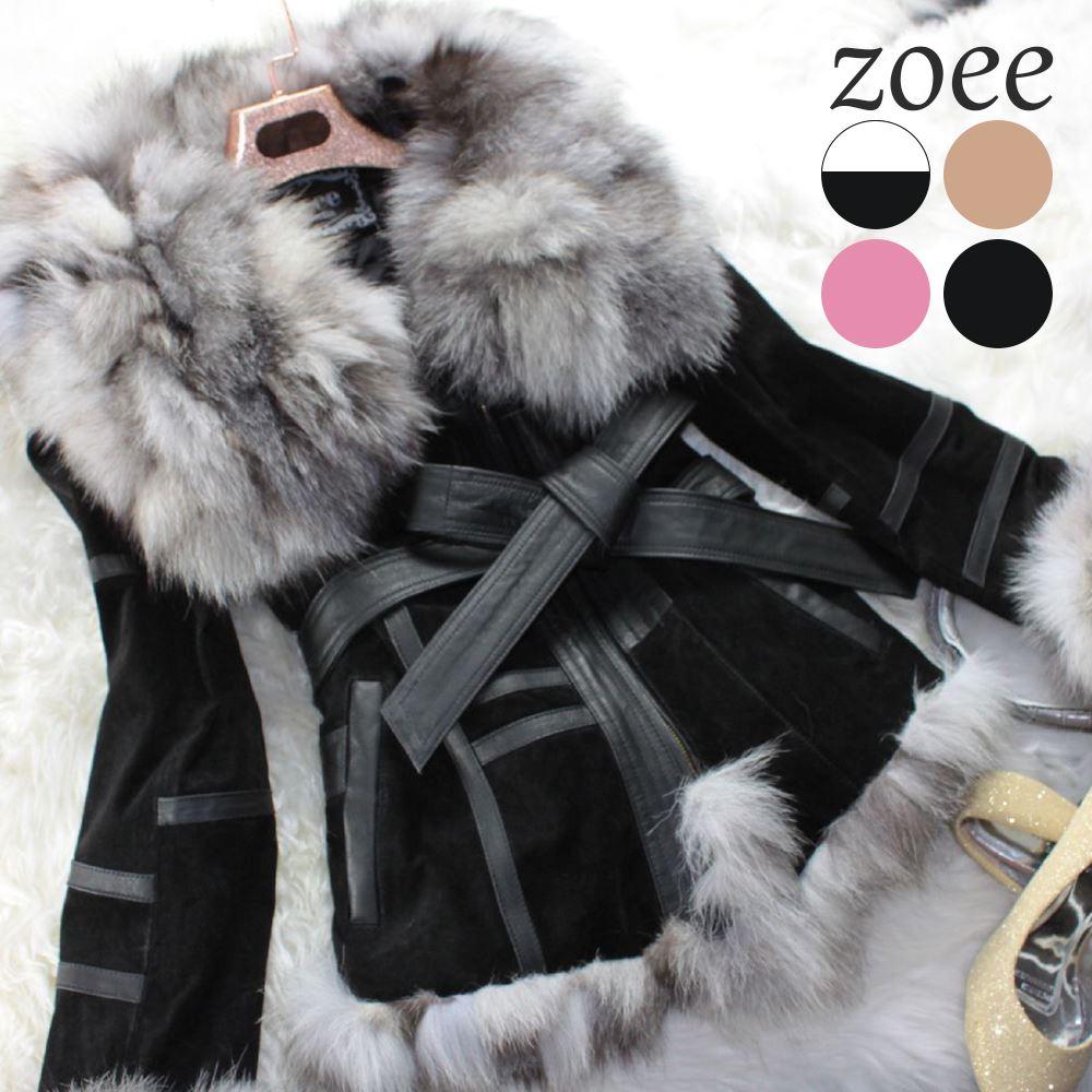 全3色 フォックスファー襟 本革 デザインジャケットコート ピッグスキン os_jkt13w004