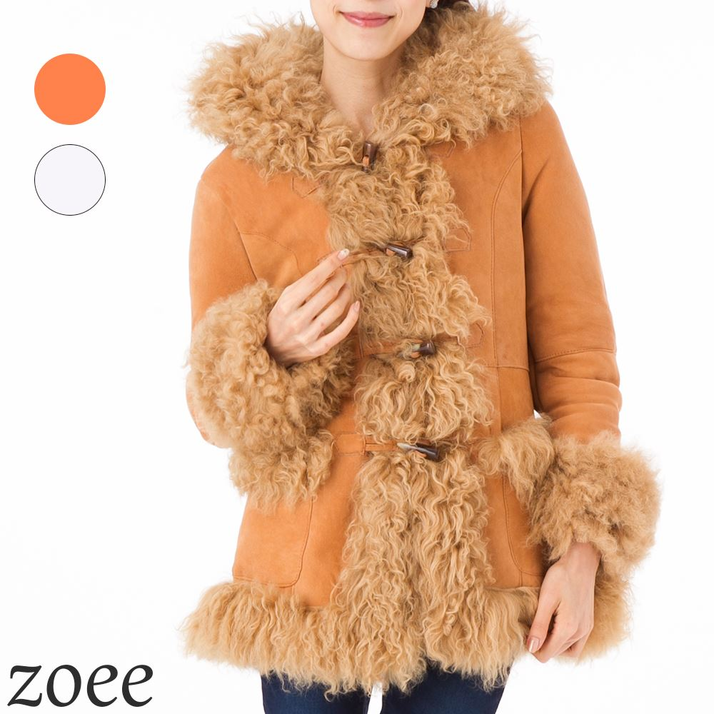 【プレミアムムートン】全2色 ダッフルコートデザイン ムートンコート 可愛くて暖かいレディースアウター PREMIUM MOUTON プレミアムムートンコート a102