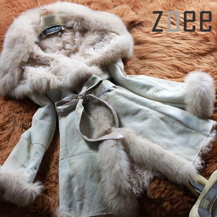 【プレミアムムートン】ふわっふわなフォックスファー付き ムートンコート ベルト付き 可愛くて暖かいレディースアウター 上質なムートンコート PREMIUM MOUTON プレミアムムートンコート b121