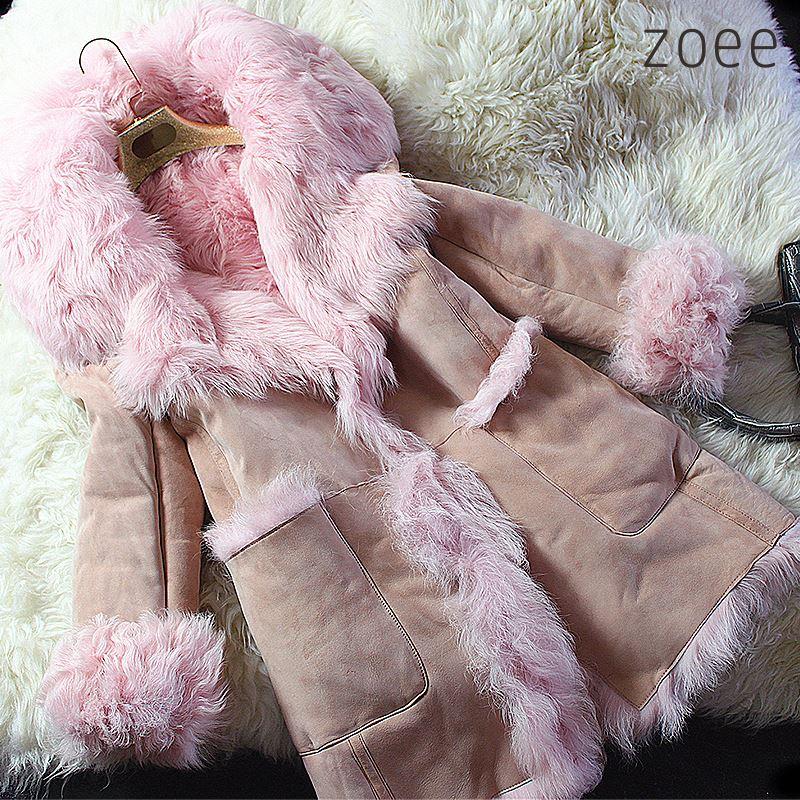 【プレミアムムートン】Wフェイス ラムムートン 8分袖 コート ピンク 可愛くて暖かいレディースアウター PREMIUM MOUTON プレミアムムートンコート c105