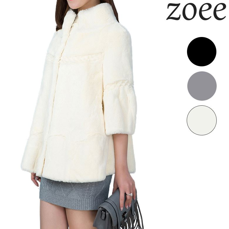 レッキスファーコート 七分袖 品のある着こなしをプラスしてくれるふんわり柔らかレッキスファーコート ブラック グレー ホワイト 全3色 c505