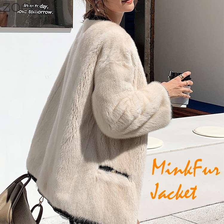 ミンクファージャケット デンマーク産ミンクファー使用 贅沢 レディース アウター ジャケット 毛皮 アイボリー S/M/L f1e25