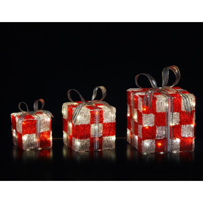 【LEDクリスタルプレゼントボックス(レッド)】 クリスマス 電飾 LEDライト ギフトボックス イベント 装飾 アイキャッチ 販促 冬 イルミネーション