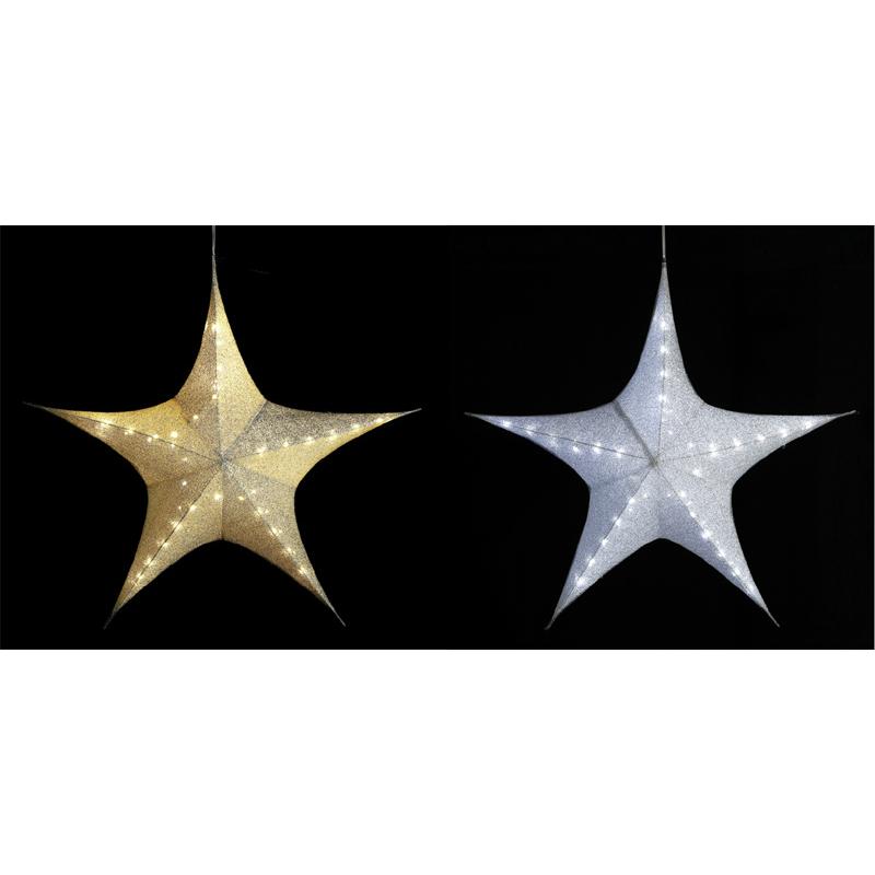 【フォールディングスターライトL(ゴールド/シルバー)】クリスマス XMAS イルミネーション 飾り 装飾 星 デコレーション イベント 販促 アイキャッチ LED