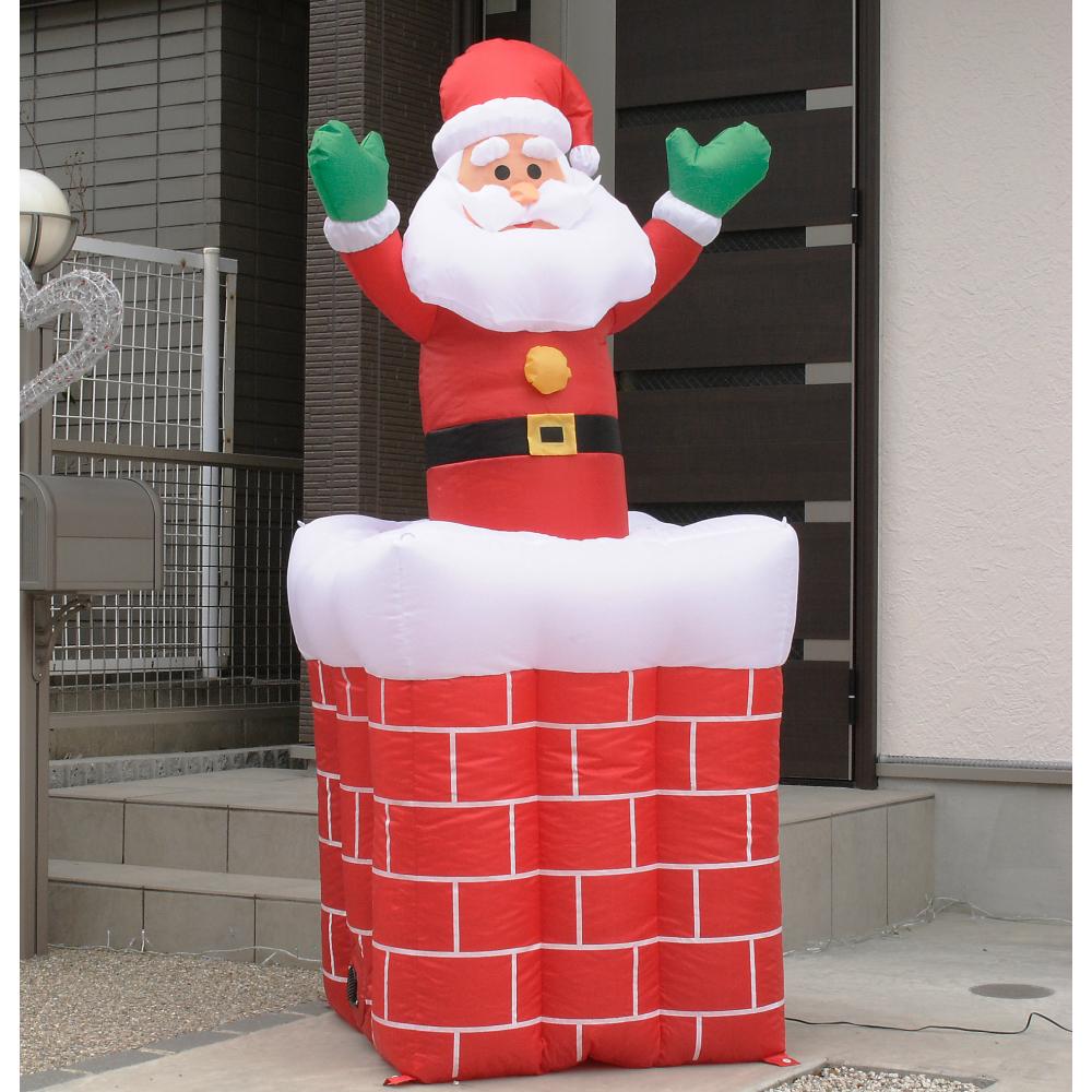 【ムービングエアーディスプレイ エントツサンタ】クリスマス サンタクロース エアーブロー エアーバルーン 動く LED 装飾 デコレーション イベント 店舗 アイキャッチ