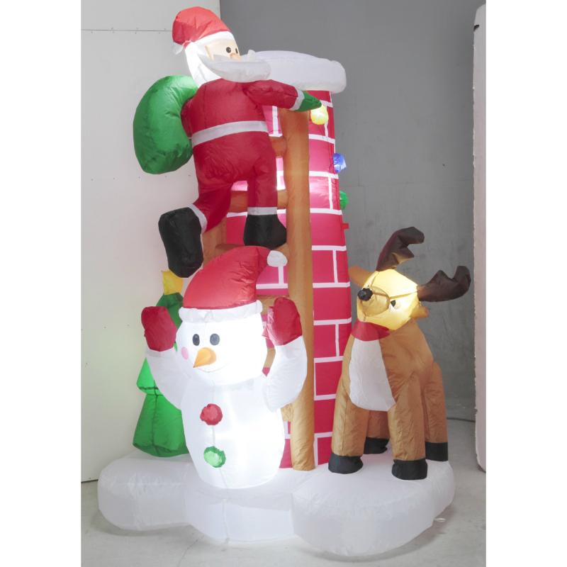 【エアーシーンディスプレイはしごサンタ】 エアーブロー エアーバルーン クリスマス サンタ トナカイ スノーマン 雪だるま LEDライト イルミネーション ディスプレイ 販促 イベント 飾り 冬 アイキャッチ