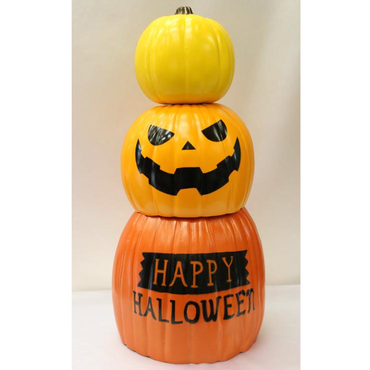 【スタッキング3Pハロウィンパンプキン】ハロウィン Halloween かぼちゃ ディスプレイ 装飾 インテリア 飾り ジャックオーランタン イベント パーティ 置物 販促 秋
