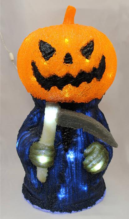 【LEDクリスタルモチーフパンプキンリーパー】(ハロウィン ライト かぼちゃ デコレーション 装飾 飾り ガーデニング 店舗 電飾 死神 鎌 ガイコツ)