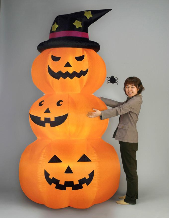 【エアーディスプレ3連オレンジパンプキン(L)】ハロウィン かぼちゃ ジャックオーランタン エアバルーン 装飾 ディスプレイ イベント 飾り 電飾